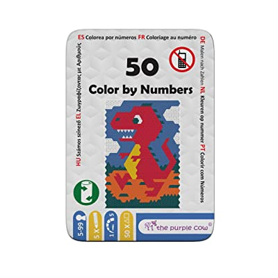 """The Purple Cow Color by Numbers - from The """"50"""" Series - Arts & Crafts Activity Learn to Draw and Remember Numbers at The Same time. Game Includes 5 Color Pencils. for Kids Aged 5+ Ideal Gift.: Toys & Games [5Bkhe0403295]"""