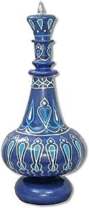 LJ544 Hand Painted MouthBlown Glass Arabesque Blue I Dream Of Jeannie Bottle