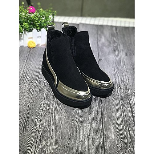 gold US7.5   EU38   UK5.5   CN38 gold US7.5   EU38   UK5.5   CN38 HSXZ Women's shoes PU Spring Fall Comfort Boots for Outdoor gold Black