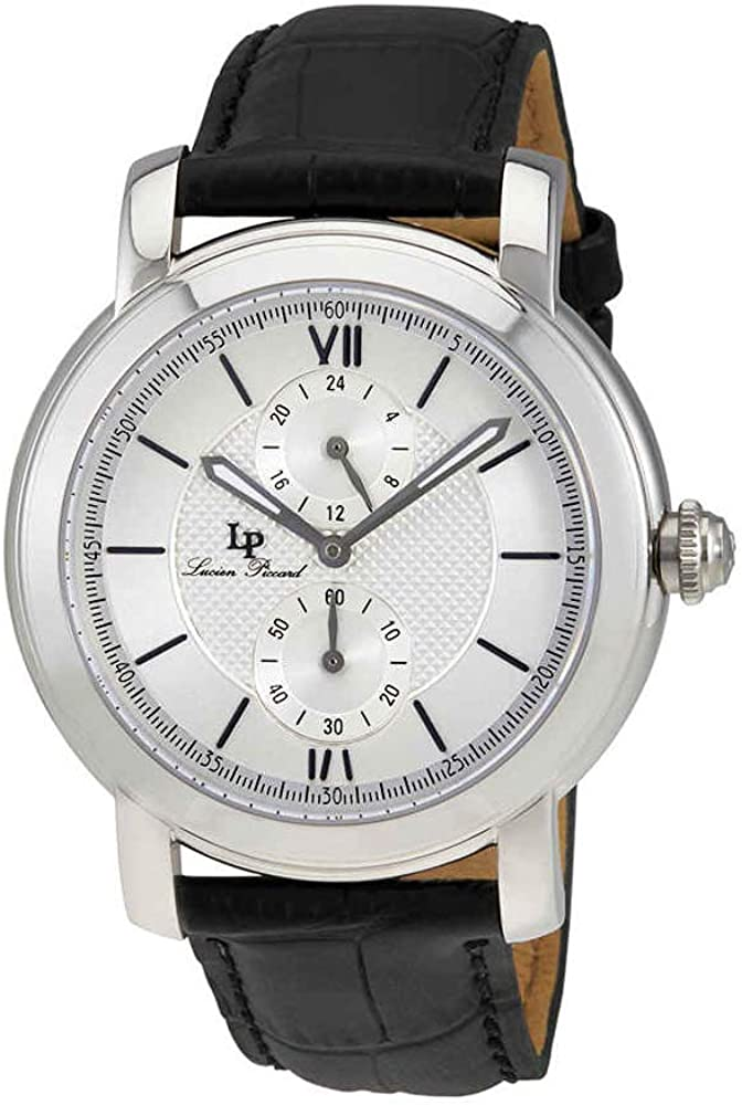 Lucien Piccard Men s LP-40026-02S Spiga Stainless Steel Watch with Black Leather Band