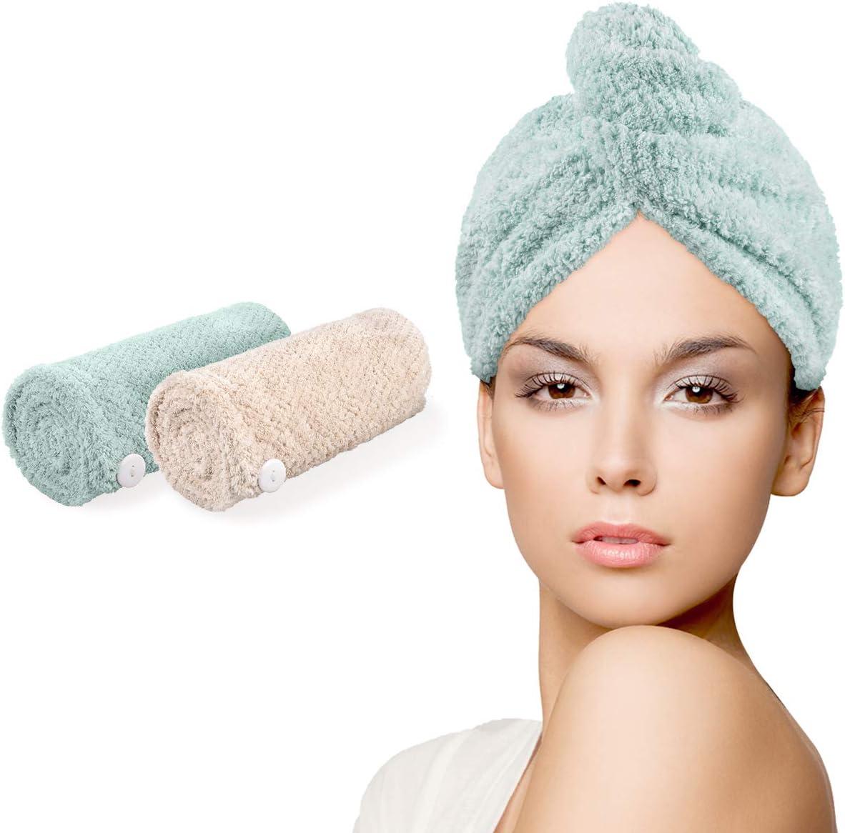 Coffee/&Khaki Fyore Hair Drying Towels Super Absorbent Microfiber Towel Turban Thicken Absorbent dry Hair Towel