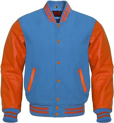 Varsity Letterman Baseball Bomber Retro Vintage Jacket Wool /& Genuine Leather Sleeves