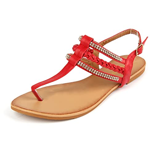 ba4931258f90 Image Unavailable. Image not available for. Color  MUDAN Women s Strappy Rhinestones  Thong Buckle Strap Gladiator Flat Sandals ...