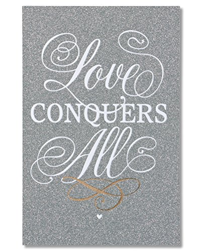 American Greetings Love Conquers All Wedding Card with Glitter