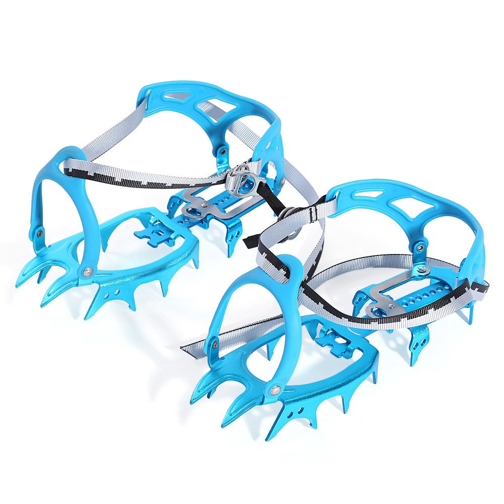 Paired 14 Teeth Bundled Crampons Cleats Ultralight Aluminum Alloy Snow Ice Gripper Claws for Mountaineering Hiking Climbing Shoe Covers Equipment (Blue)