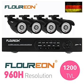 Floureon HDMI CCTV DVR Grabador de Video Vigilancia + 4 X 1200TVL Cámaras Balas Impermeable Aire ...