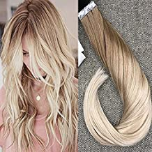 Full Shine 16 inch in Human Hair Extensions Tape Remy Hair Full Head Balayage Color #12 Fading to #24 Skin Weft Remy Hair 50g 20Pcs Per Package Seamless Skin Weft Tape extension