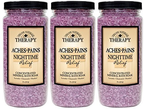 Village Naturals Therapy Aches and Pains Nighttime Relief Mineral Bath Soak 20oz 3 pack (3) by Village Naturals - Mall Village U