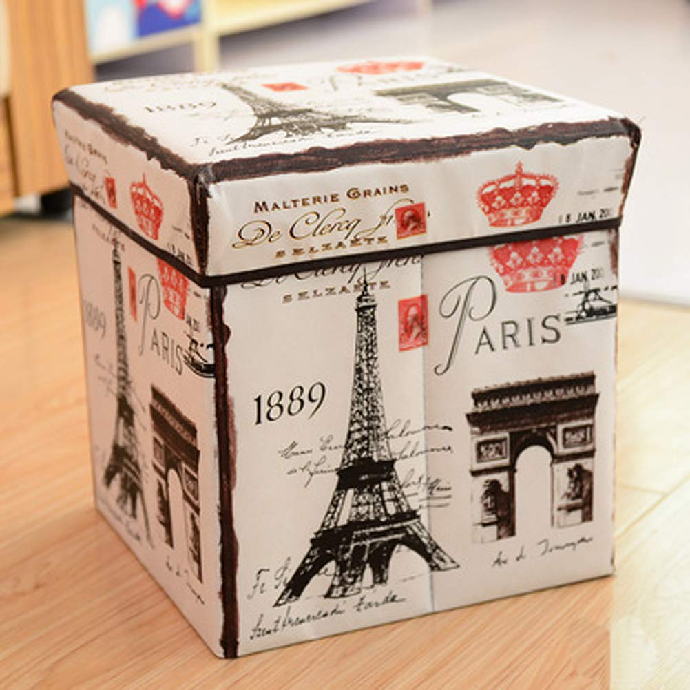 Non-Woven Multi Functional Folding Storage Stool Multi Creative Retro French Collapsible Cube Paris Pattern by Sunnyillumine