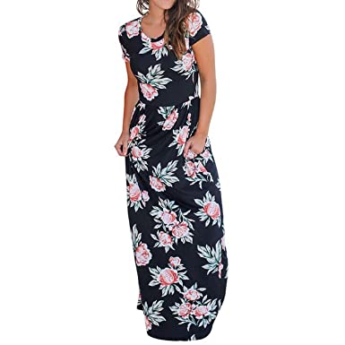 07b117d4c9 Wintialy Women Casual O Neck Print Floral Short Sleeve Ankle-Length Dress  Black