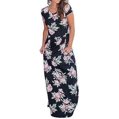c7103da46e39 Wintialy Women Casual O Neck Print Floral Short Sleeve Ankle-Length Dress
