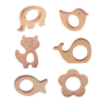 3 Stücke Beißring aus Buchenholz Kinder Zahnen Spielzeug Babypflege Schmuck