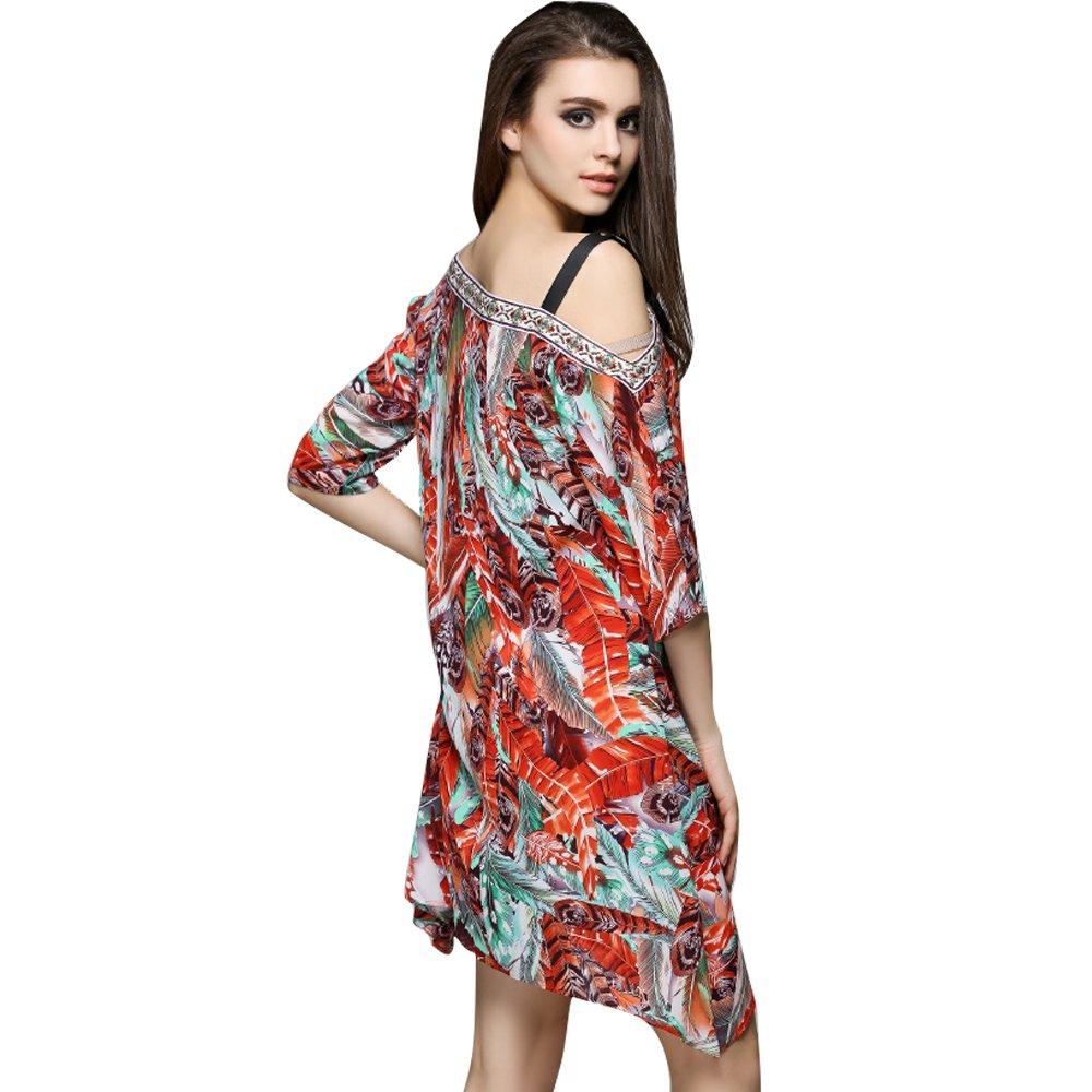 Vkziyi Women Bohemian Neck Tie Vintage Printed Ethnic Style Summer Shift Dress