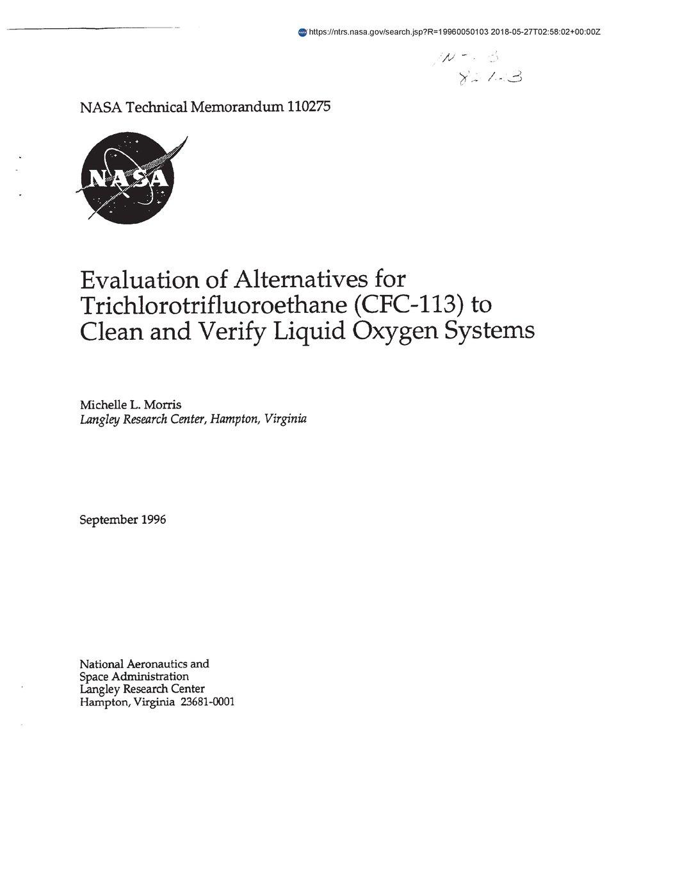 Evaluation Of Alternatives For Trichlorotrifluoroethane Cfc 113 To