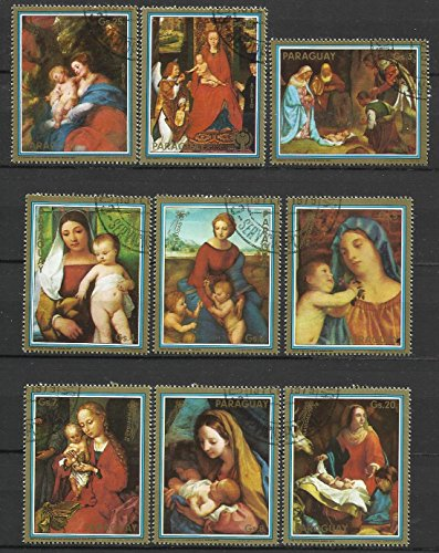 Paraguay Postage Stamps 1978 9v Canceled Virgin Mary & Child Paintings Christmas (Stamp 1978 Paintings)
