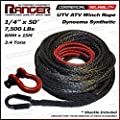 "Ranger 7,500 LBs 1/4"" x 50' Dyneema Synthetic Winch Rope 6 MM x 15 M for UTV / ATV Winch by Ultranger by Ultranger"