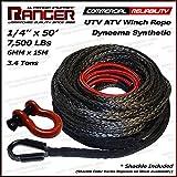 "Ranger 7,500 LBs 1/4"" x 50' Dyneema Synthetic Winch Rope 6 MM x 15 M for UTV / ATV Winch by Ultranger"