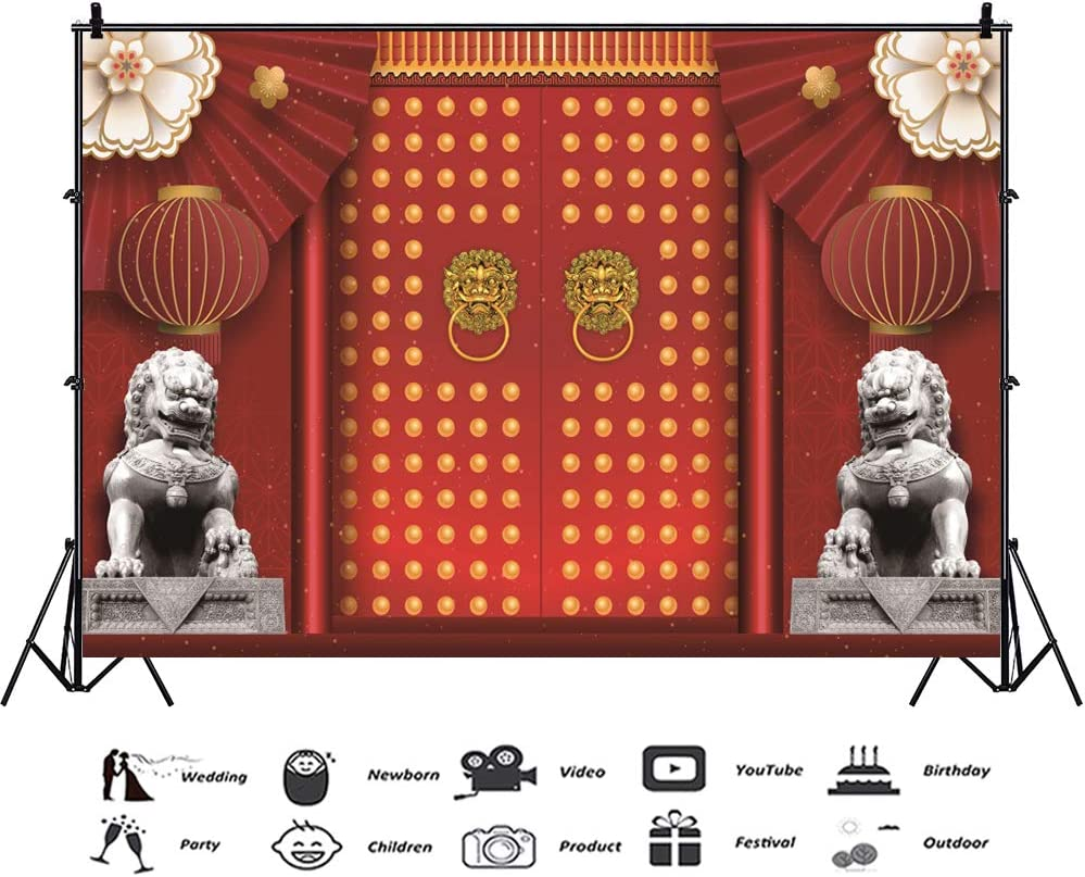 Lantern 8x10 FT Photography Backdrop Chinese Mid Autumn Festival Celebration Festive Times Culture Background for Party Home Decor Outdoorsy Theme Vinyl Shoot Props Charcoal Grey Multicolor