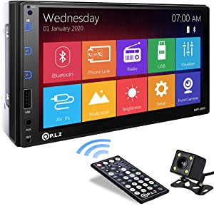 P.L.Z MP-800 Car Entertainment Multimedia System – 7 Inch Double Din HD Touchscreen Monitor Car Stereo – MP5 Player Bluetooth Car Radio Receiver – Supports Rear Front View Camera, MP3, USB, AUX