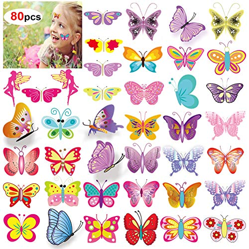 Colorful Butterfly Tattoos (Temporary Tattoos for Kids(80pcs),Konsait Colorful Butterfly Tattoos Body Art Stickers for Children Girls Birthday Party Favors Supplies Great Kids Party Accessories Goodie Bag Stuffers Party)