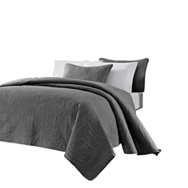 Chezmoi Collection Austin 3-Piece Oversized Bedspread Coverlet Set (Queen, Charcoal)
