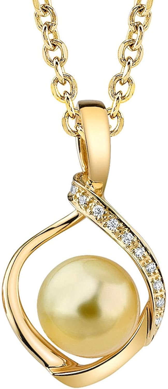 die Pearl Source 14K Gold Round Golden South Meer Cultured Pearl & Diamond Alexis Pendant Necklace für Women