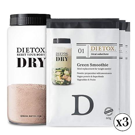 Dietox Dry Mix - 3 variedades de batidos de proteína vegana. Sustituivo de 9 comidas