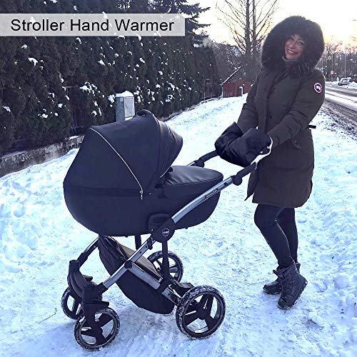 Cloverclover 1 Paar Kinderwagen Kinderwagen Handschuhe Winter Warm Wasserdichte Handschuhe Hand Muff Schwarz