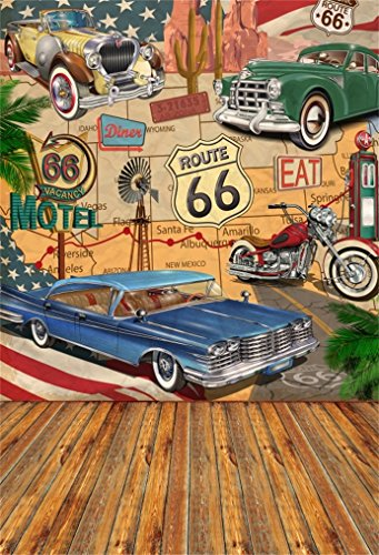 Classic Portraits Photography - AOFOTO 6x8ft Vintage Route 66 Backdrop Retro Motel Poster Photography Background Classic Signs Old Filling Station Tire Service Historic Motor Vehicle Adult Portrait Photoshoot Studio Props Wallpaper