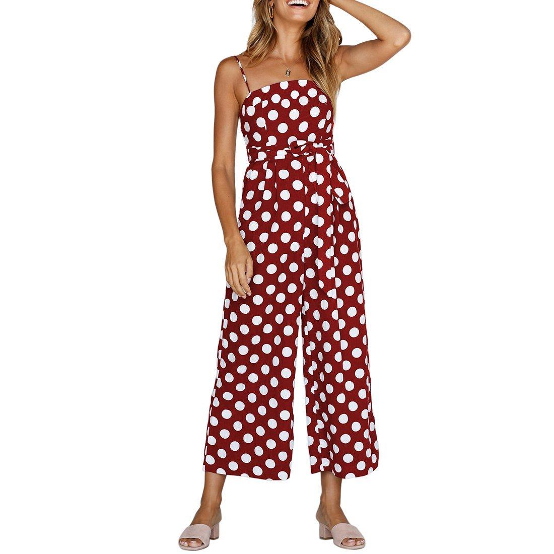 Shinekoo Women Holiday Playsuit Strap Sleeveless Off Shoulder Polka Dot Long Wide Leg Boohoo Beach Jumpsuit