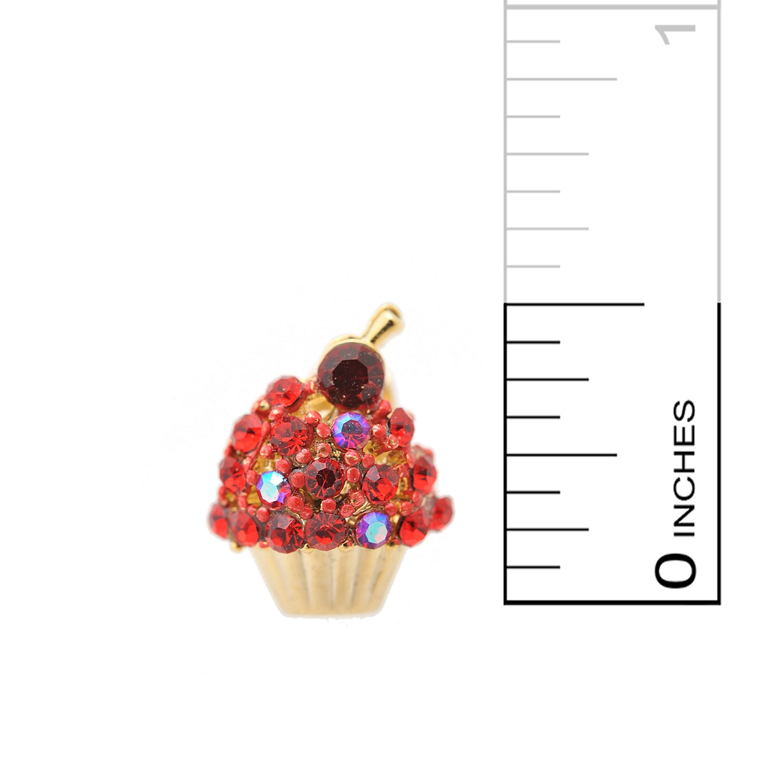 Spinningdaisy Crystal Cherry on the Top Cupcake Earrings Red