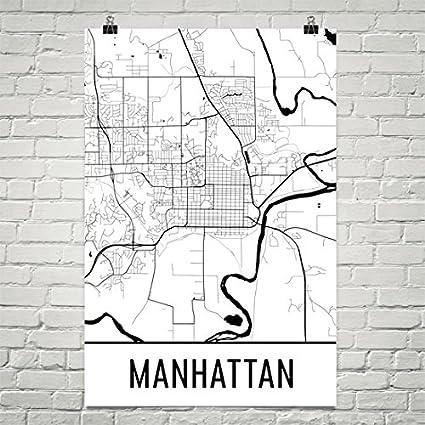 Map Of Manhattan Kansas.Amazon Com Manhattan Ks Poster Manhattan Ks Art Print Manhattan