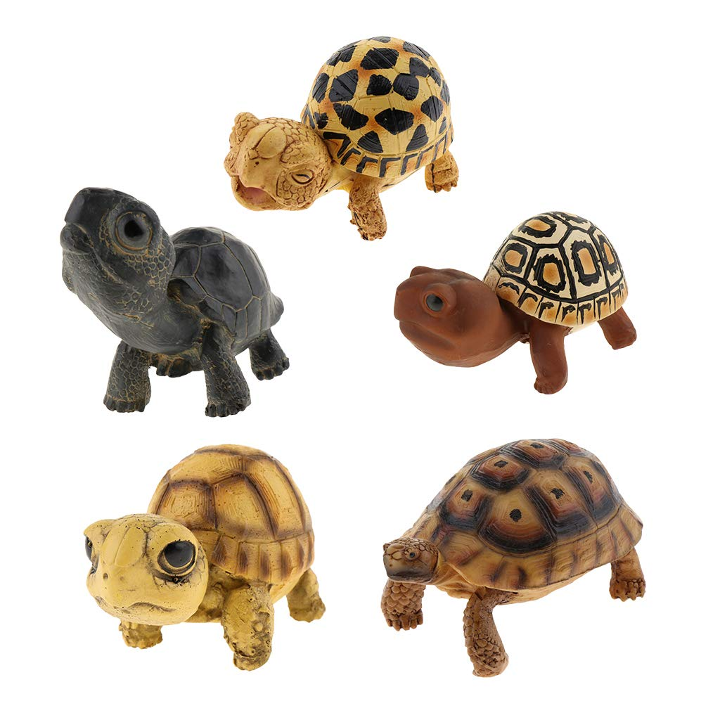 Baosity 5Pcs Non-Toxic Free from Extraneous Odour Fake Simulation Turtle Fish Tank Aquarium Decoration Ornament