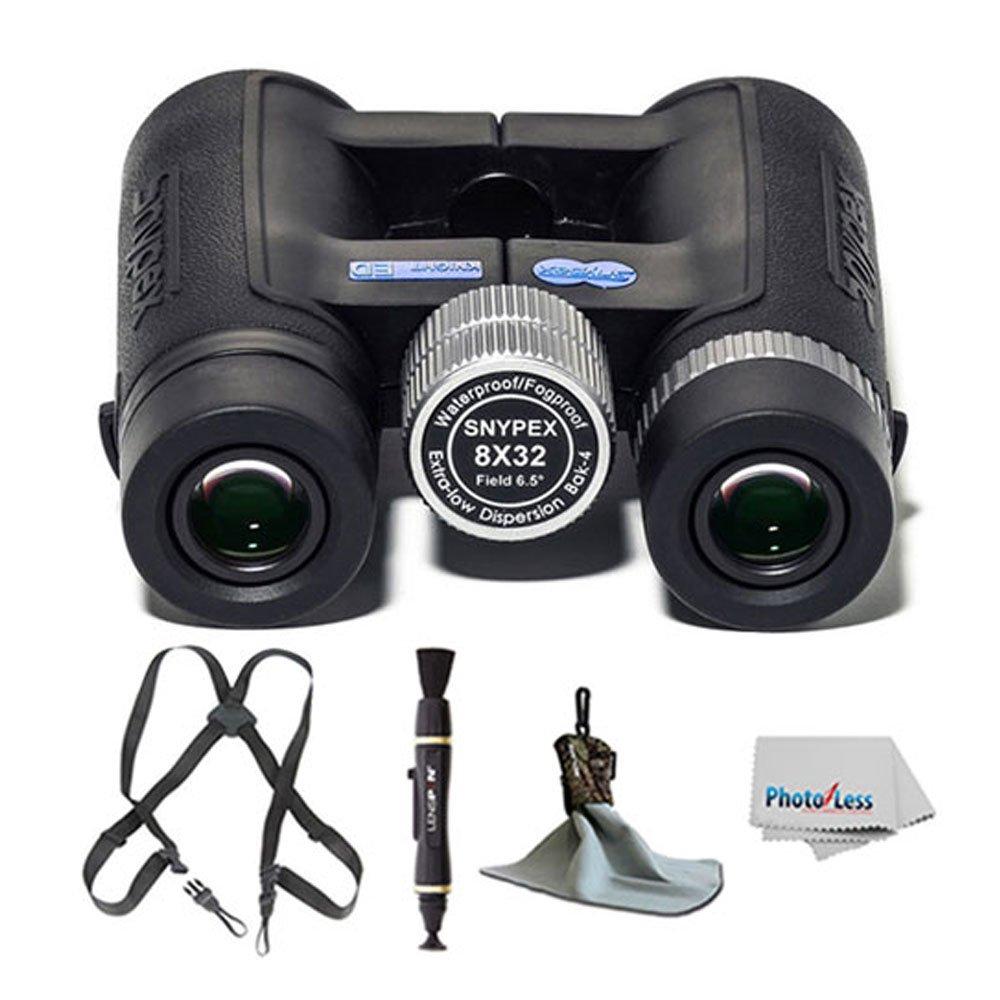 Snypex Optics新しい2016 Knight 8 X 32 d-edコンパクトスポーツOpticsポケット双眼鏡+ Black Webbingハーネス+ウルトラマイクロファイバー布 – ポーチ+レンズクリーニングペン+ photo4lessクリーニングクロス+ Great値 B01NGZFLVD