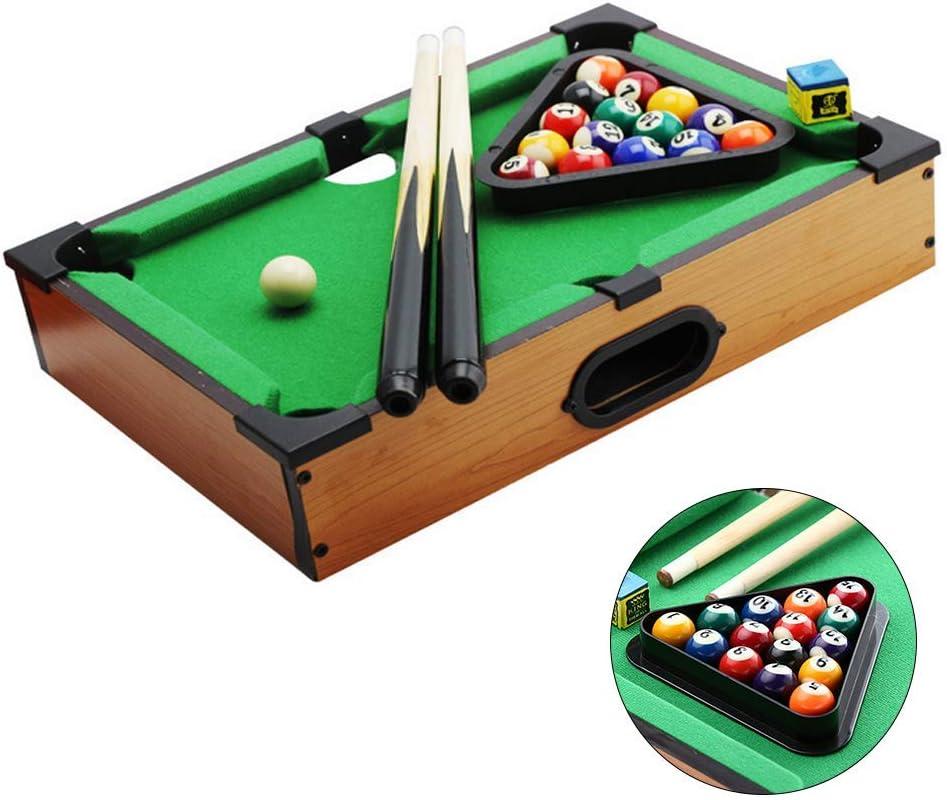 ZY Tablas Mini Piscina Tabla De Primas De Mesa Juegos De Billar Conjunto Infantil De Madera Fun Pool con 2 Cues/Bolas/Rack Y Tiza: Amazon.es: Hogar