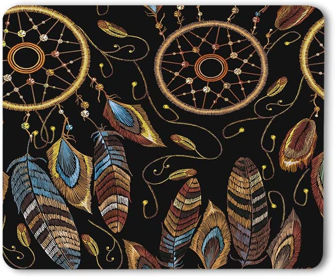 Moslion Dream Catcher Mouse Pad Native American Indian Ethnic Style Magic Tribal Feathers Gaming Mouse Mat Non-Slip Rubber Base Thick Mousepad for Laptop Computer PC 9.5x7.9 Inch