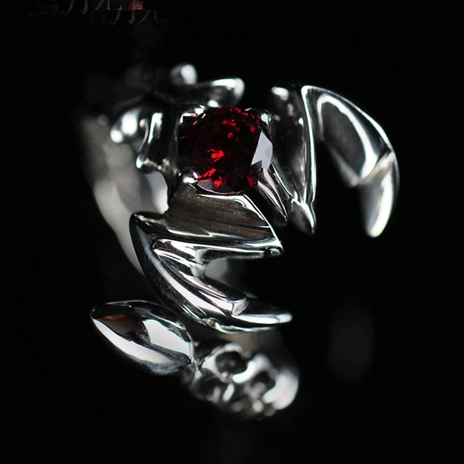 AMDXD Jewellery Women Men Wedding Rings Sterling Silver Scorpion Round Red Stone Ring Size 5 to Size 11.5