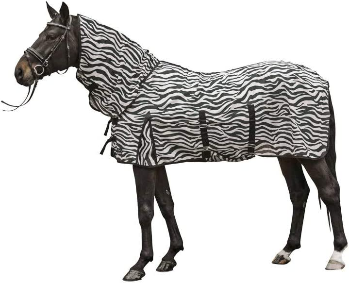 HKM volar con cuello - Zebra - con la cruz de la correa blanco / negro Talla:longitud del respaldo: 165 cm
