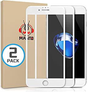 MANTO 2-Pack Screen Protector for iPhone SE (2020) 8 7 6S 6 4.7 Inch Full Coverage Tempered Glass Film Edge to Edge Protection White