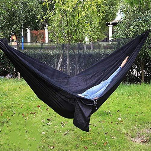 Jun7L Hamaca para Acampar con mosquitera, hamacas de paracaídas Dobles portátiles ultraligeras, Cama para el jardín Interior al Aire Libre, Senderismo, mochilero Negro 290X140cm: Amazon.es: Jardín