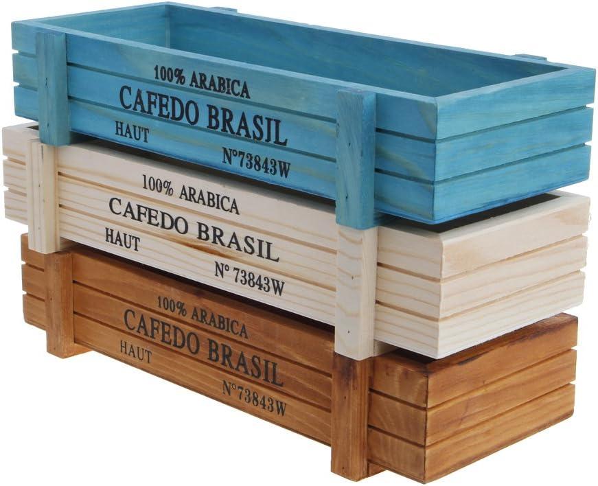 Manyo - Macetero exterior de madera, rectangular para balcones y plantas de exterior y de interior, 22,61cm x 8,41cm x 4,50cm