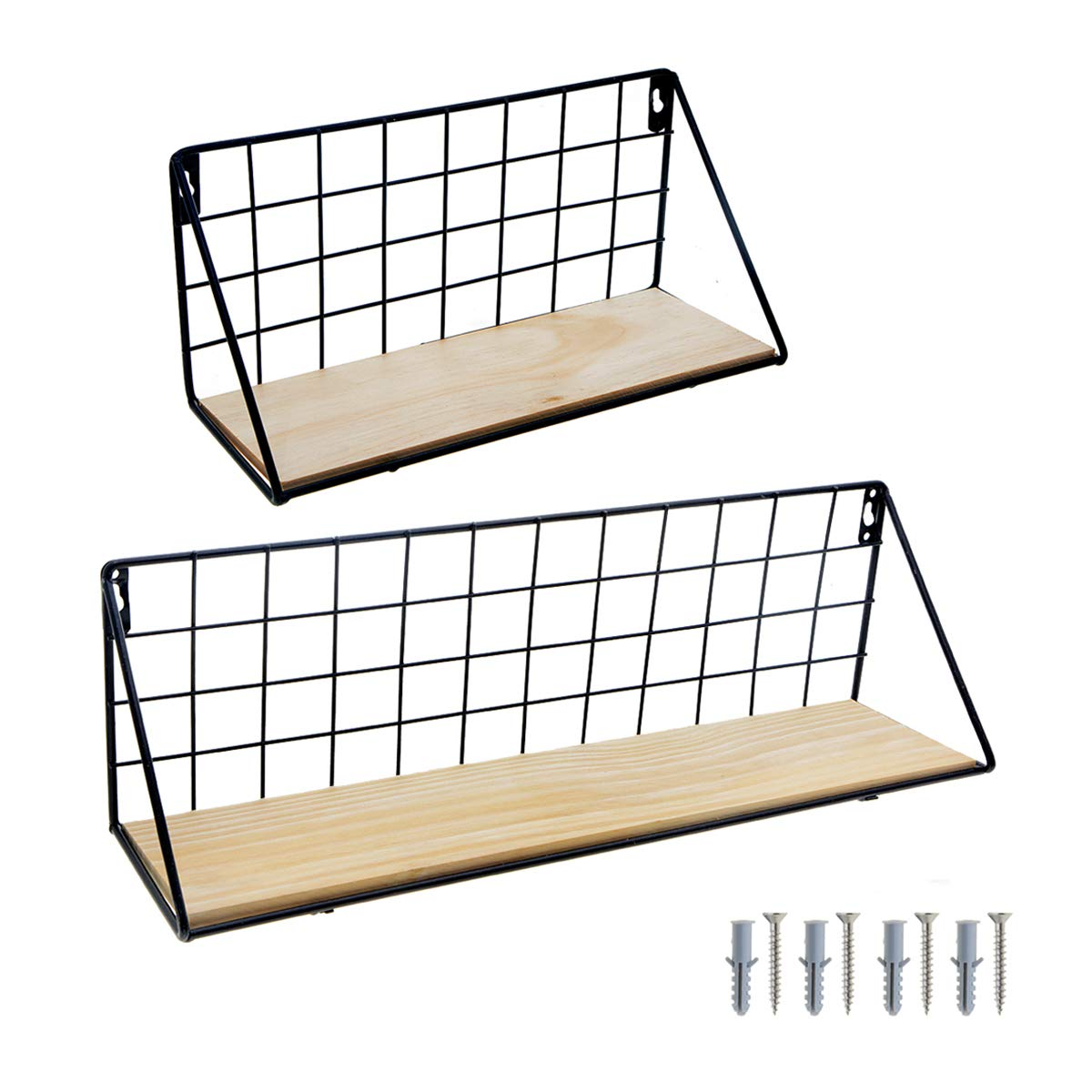 S, Black Saim Floating Shelves Wall Mounted Metal Wire /& Wooden Wall Hanging Shelf Grid Display Rack for Books Picture Frames Collection Decorations Potted Soap Conditioner Shampoo