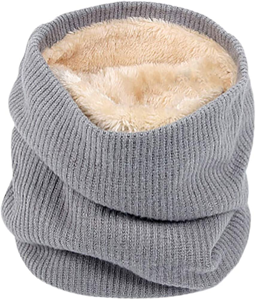 Fleece Lined Thick Knit Neck Warmer Circle Scarf Windproof