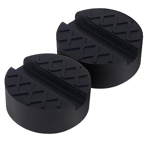 Kindax 2pcs Goma Gato Hidraulico Bloque de Goma Universal Protector para Elevador Coche - Negro