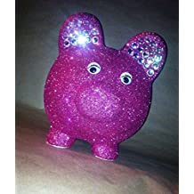Large size shimmering piggy bank with jeweled ears - can be personalized also!