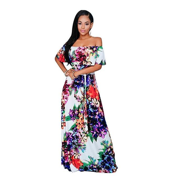 c18bd0080 Haroty Largos Maxi Vestidos Off Shoulder Strapless Flores Estampado  Ajustados para Mujeres Verano Playa Cocktail Fiesta  Amazon.es  Ropa y  accesorios