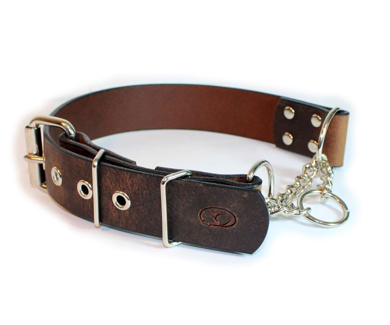 sleepy pup Big Dog Adjustable 1.5'' Leather Martingale Chain Dog Collar - Made in The USA (Medium: 14''-18'', Dark Brown) by sleepy pup