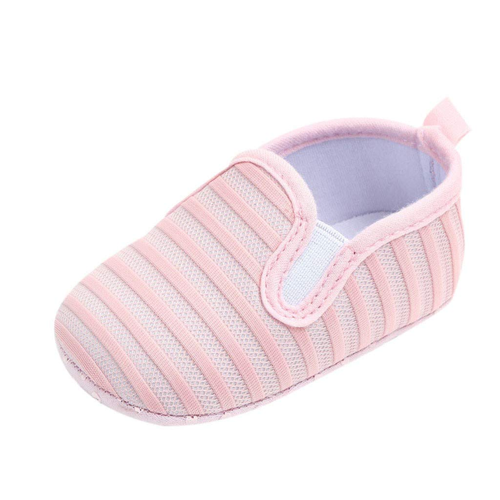 NUWFOR Newborn Baby Candy Color Striped Mesh First Walkers Soft Sole Casual Shoes(Pink,0-6 Months)