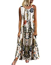 Weant Women's Linen Dress Sale Summer Sleeveless Boho Floral Print Maxi Long Dress Ladies Teen Girls Casual Swing A-Line Dress Holiday Beach Sundress Evening Party Cocktail Plus Size S-5XL