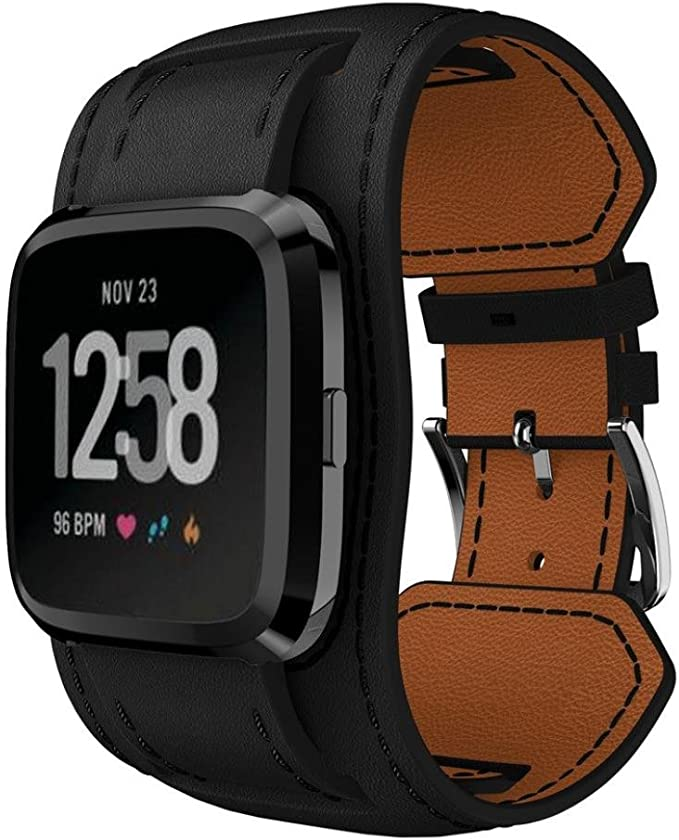 NewKelly Watchband for Fitbit Versa Smartwatch,Leather Adjustable Wristband